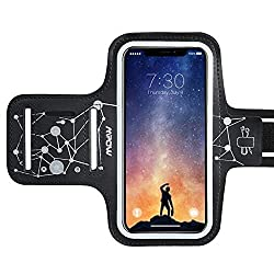 Mpow Sportarmband Handy für iPhone 11 11 Pro XR XS X 8 7 6 6s Samsung Galaxy S9【bis zu 6.1 Zoll】, Schweißfest Armband mit Running Headphone Slot und Key Slot für Running Exercise, Starry Sky Pattern