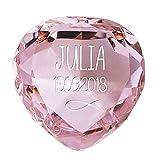 Geschenke.de Personalisierbarer Glasdiamant als Geschenk zur Taufe mit Gravur, Tauf Geschenk personalisiert als Gastgeschenk vom Paten und Gästen für Mädchen rosa