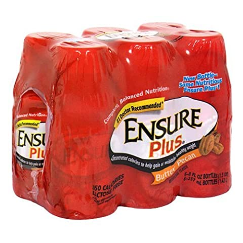 Ensure Plus Complete Balanced Nutrition Drink, Butter Pecan, Six-8 Fluid Ounces Bottles by Ensure