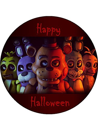 "Five nights at Freddy's 7.5"" Round personalised birthday cake topper printed on icing"