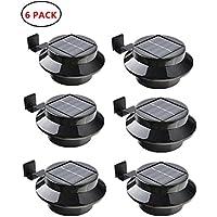 yinghao 3LED funciona con energía solar luz valla de canalón de luz al aire libre batería de seguridad pared techo garaje cobertizo luz resistente al agua para puerta, negro, 6