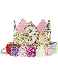 JMITHA Bébé Fête d anniversaire Bandeaux de couronne bandeau de cheveux  bébé fille avec fleur 4cc4578e712