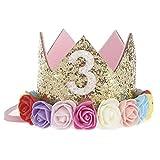 JMITHA Bébé Fête d'anniversaire Bandeaux de couronne bandeau de cheveux bébé fille avec fleur Photographie Belles Fleur Cheveux Accessoires Couronne Bande de cheveux (05)