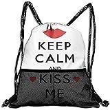 Mitta Yane Borse Zaini con Coulisse,Kiss Me Poster Design con Cuori Rossi E Un Bacio San Valentino Romance,Regolabile