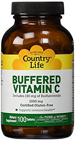 Country Life Buffered Vitamin C Rh, 1000 mg, Plus Citrus Bioflavonoids 150-Mg, 100-Count