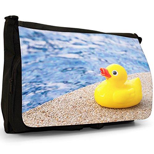 Lifetime-Paperelle di gomma per vasca da bagno Bubble, colore: nero, Borsa Messenger-Borsa a tracolla in tela, borsa per Laptop, scuola Duck Ready For Swim In Pool