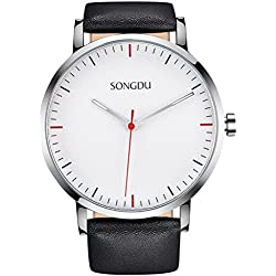 SONGDU Unisex Elegant Quartz Watch Wristwatch With Black Leather Strap Alloy Watch Case and White Frosted Dial DM-9205P01AE--Ideal and Celebrative Gift for Christmas and New Year Sales