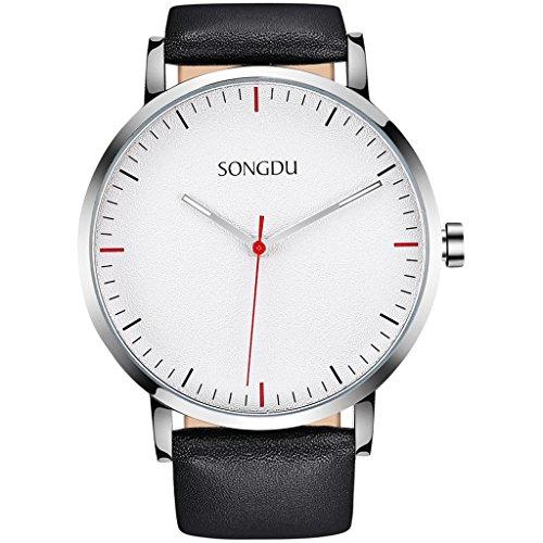SONGDU Unisex Elegant Quarz Uhr Armbanduhr mit Schwarz Leder Armband Metallgehäuse und weißes Zifferblatt DM-9205P01AE