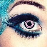 aricona Farblinsen | farbige Kontaktlinsen ohne Stärke für dein Einhorn Kostüm | deckend pinke Manga Augenlinsen für Cosplay | farbig bunte Jahreslinsen