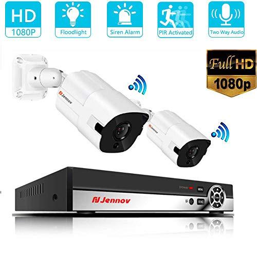 Z-DYQ HD Video Surveillance Kit IP 2CH 5MP Camera Outdoor Audio System Home Security Camera System CCTV NVR Set H.265 HD für Haus Innen Außen Bereich mit Nachtsicht-Funktion,2TB Audio Surveillance Kit