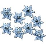 FOONEE Glitzer-Weihnachtsstern Blumen, Weihnachtsschmuck, Glitzer, künstliche Weihnachtsblumen, 8 Stück blau