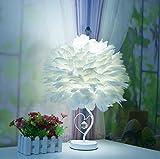 LUCKY CLOVER-A Tischlampe Dimmen Schlafzimmer Nachttischlampe Geburtstag Hochzeit Dekoration Minimalistischen Kreative Feder Lampe Mode Elegante Romantische Geschenk Weiß Rosa, white
