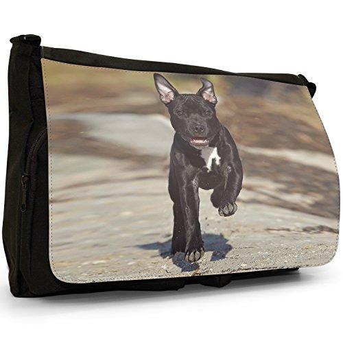 Staffordshire Bull Terrier Staffy personale cagnolino nero, in tela, borsa Messenger-Borsa a tracolla, per scuola, Borsa per computer portatile Nero (Black Staff Running To Play)