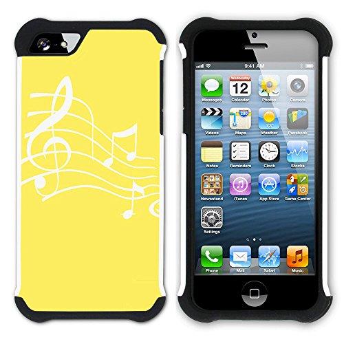 Graphic4You Musik Noten Muster Design Hart + Weiche Kratzfeste Hülle Case Schale Tasche Schutzhülle für Apple iPhone SE / 5 / 5S (Schwarz) Gelb
