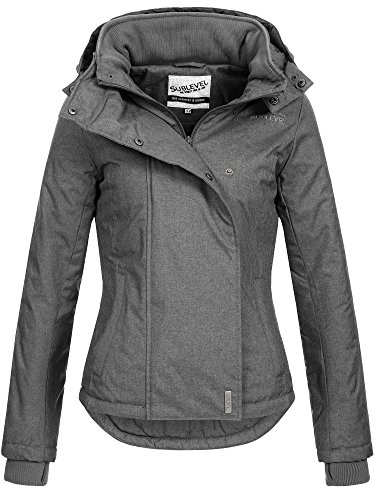 SUBLEVEL Damen Zipper Jacke mit Kapuze Steppjacke Stepp Winterjacke Jacke Damenjacke XS S M L XL