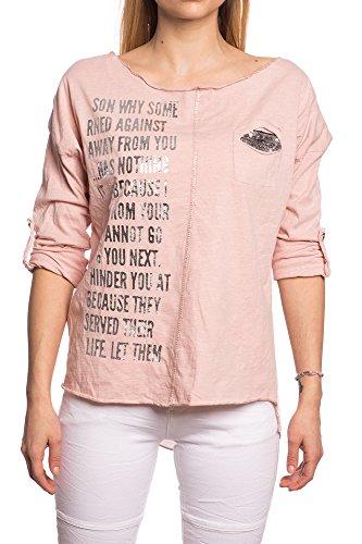Abbino 12751 Chemisiers Blouses Tops Femmes Filles - Fabriqué en Italie - 6 Couleurs - Transition Printemps Été Automne Plaine Chemises Manches Longues Elegante Vintage Classique Casual Sexy Rose