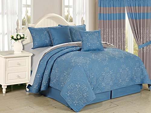 All American Collection New 6 Circle Wendbar Bestickt Tagesdecke/Quilt Set King 6pc Blau -