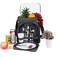 GLXQIJ 2 Person Picnic Set,Durable Backpack, Large Cool bag,Lightweight,11 Piece Cutlery Set,for Camping/BBQ/Family Outdoor Activities