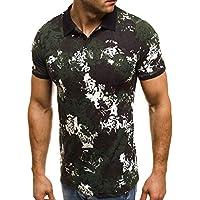 Hombres Camuflaje Manga Corta Camiseta de Camuflaje Hombre Militares Camisetas Top de Solapa Camuflaje Slim Fit Casual para Hombres Tops Blusa Deportiva Camisa