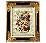 Alice im Wunderland Herzkönigin Poster Kunstdruck auf antiker Buchseite Geschenk Flamingo Croquet Steampunk Bild ungerahmt