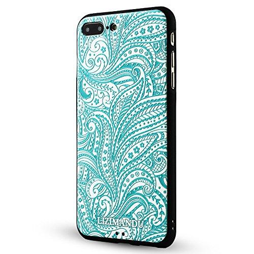 iPhone 7 Plus hülle,Lizimandu TPU 3D Handyhülle Muster Case Cover Für apple iphone 7 plus(Blaue Blume/Blue Flower) Spiral