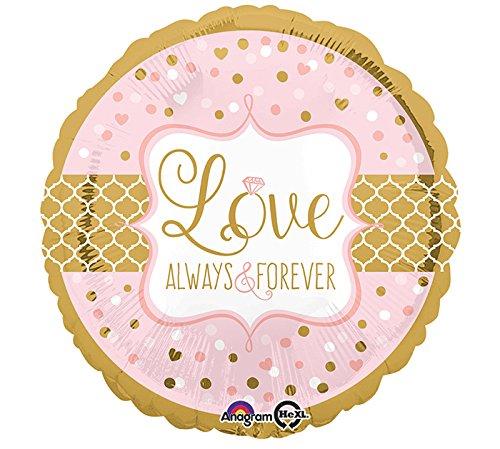 Preisvergleich Produktbild Folienballon * LOVE - ALWAYS & FOREVER * als Dekoration für Valentinstag oder andere Anlässe // Kinder Foil Ballon Helium Deko Liebe Antrag Heirat Hochzeit