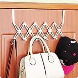 HOKIPO® Adjustable Over The Door Hook Hanger, Stainless Steel Heavy Duty Door Hanger for Clothes, Coats, Robes, Hats…