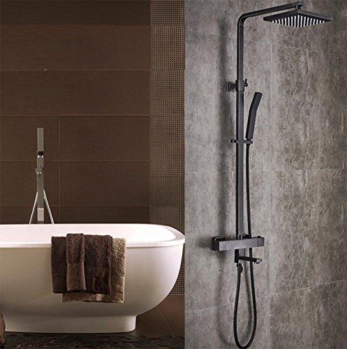 ZHFC Duschsystem, alle Bronze Antike schwarze Farbe Dusche Combo Set, Badezimmer-Boost Quadrilateral Nozzle, ein Wort Hand Handheld Duschköpfe (Handheld-duschkopf Antik)