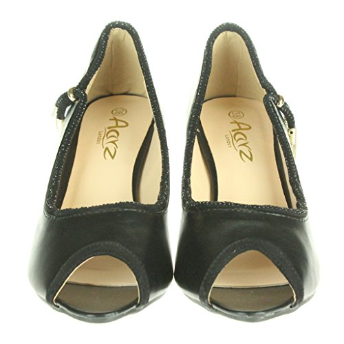 Frau Damen Zwei Ton Abend Party Hochzeit Braut Prom Casual Peep Toe Mitten Absatz Sandalen Schuhe Größe Schwarz