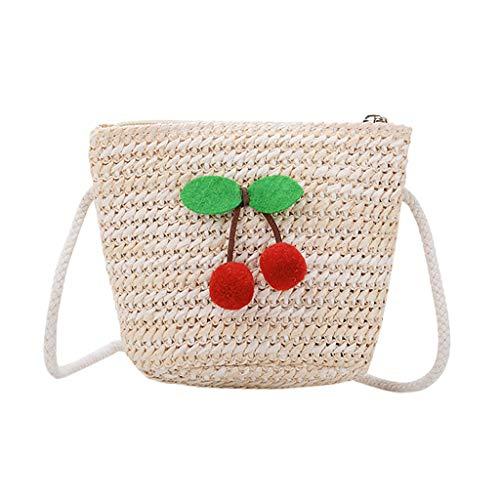 Dorical Messenger Tasche für Kinder Kinder schöne weben tasche schulter Geldbörse Umhängetasche,für Baby Jungen Mädchen 3-7 JahrAusverkauf(Beige-E)