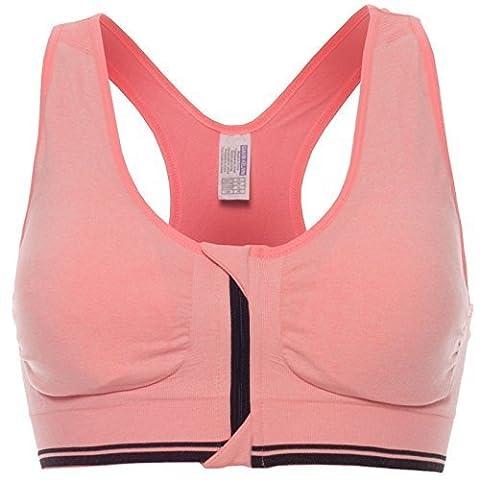 Komfort Damen Push Up mit Buegel Sport BH Stretch Sports Reißverschluss 20643, Farbe:Lachs;Größe:XL