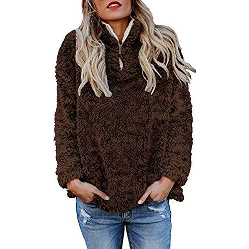 Rosennie Frauen Warme Pullover Damen Herbst Winter Hoodie Pullover Teddy Fleece Mantel Langarmshirt Beiläufige Reißverschluss Sweatshirt...