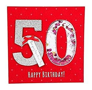 Depesche 8211.005Tarjeta de felicitación Glamour con Ornamento y Purpurina, 50cumpleaños