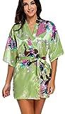 FLYCHEN Damen bunt satin Nachthemden japanische Kiminos Frauen Schlafanzug Erbsengrün XL