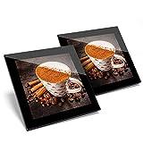 Fantastico set di 2 sottobicchieri in vetro - Cinnamon speziato latte caffè caffè caffè lucido qualità sottobicchieri/tavolo protezione per qualsiasi tipo di tavolo #16529