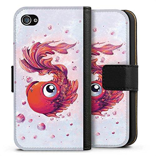 Apple iPhone X Silikon Hülle Case Schutzhülle Fisch Goldfisch Comic Sideflip Tasche schwarz