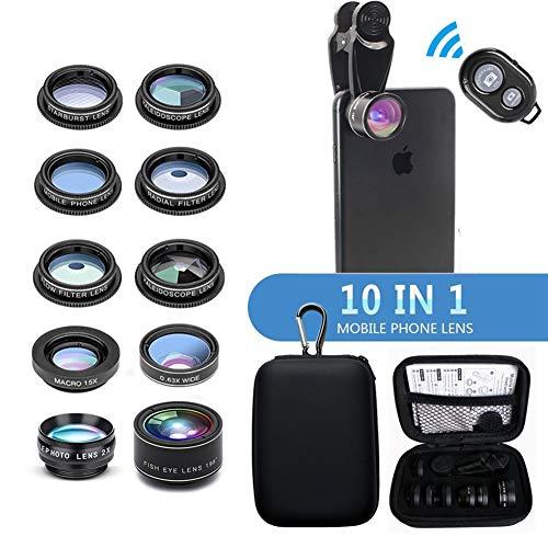 10 in 1 Handy Objektiv Set,Clip-On Handy Kamera Objektiv Set, Fisheye,Weitwinkelobjektiv, Makro,Teleobjektiv, Kaleidoskop 3/6 Objektiv,CPL/Flow/Star/Radial Filter,für und die meisten Smartphones
