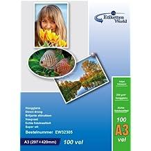Etiketten World - 100 Hojas de Papel Fotográfico A3 230g/qm Alto Brillo Impermeable