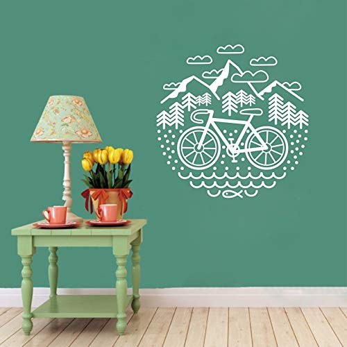 WWYJN Bicycle and Mountains Wall Decal Cycling Gravel Bike Vinyl Wall Sticker Outdoor Cycling Wall Decor Gray 56x56 cm (15 Zoll Mountain Bike)