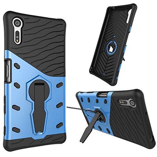 Sony Xperia XZ Hülle, KuGi ® Sony Xperia XZ Hülle - Hochwertige ultra-dünnen TPU + PC Standplatz -Abdeckung Fall für Sony Xperia XZ-Smartphone.(Schwarz)