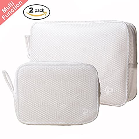 Set of 2 Toiletry Travel Bag Organizer for Men and Women - Easy to Clean Waterproof Cosmetic Pouch Makeup Bag - Handy Multifunction Zipper Pouches for Travel, Home, Work, Sports or