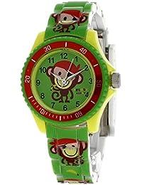 Trendy Kiddy - KL233 - Montre Mixte - Quartz Analogique - Cadran Vert - Bracelet Plastique Multicolore