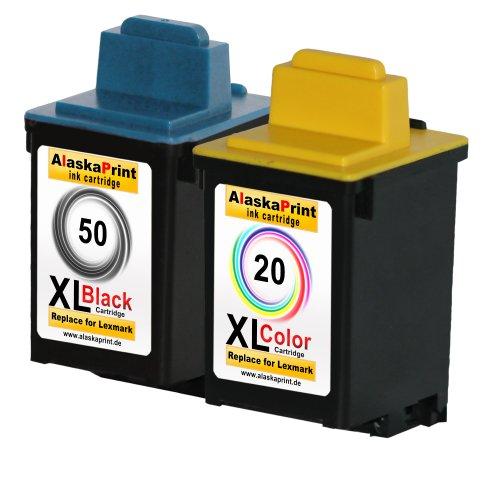 Premium 2er Set Kompatible Druckerpatronen Als Ersatz für Lexmark 50 XL + 20 XL Tintenpatrone Schwarz , Farbig 50+20- Lex (17g0050 Schwarz Tinte)