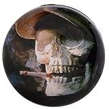 Morella Unisex Glas Click-Button Druckknopf Totenkopf Smoker