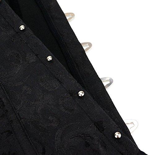 MISS MOLY Korsage|Damen Vintage Vollbrust Korsett Spitze Design Mit G-Tanga Schwarz