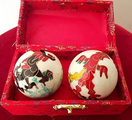 Chinese Health Balls with Chimes; with Dragon(Power & Phoenix(Happiness & Luck) Symbols. Health Balls Stimulate Acupressure Points in the Hands. Balls come in a traditional chinese presentation box. by Spiritual Gifts