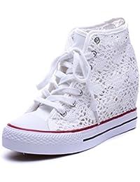 Scarpe Donna con Zeppa Interna di 7 cm Merletto Pizzo Ginnastica Sneakers Bianco Nero Beige (41, Nero)