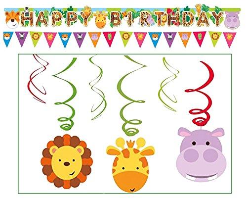 Libetui 'Dschungelfreunde' Kindergeburtstag Deko Set Happy Birthday Deko Bunte Partykette Wimpel Girlande Spirale (Dschungel Standard)