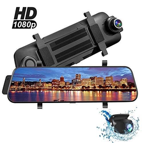 "Dashcam, Aonerex Touchscreen Autokamera mit Rückfahrkamera Spiegel Dual Lens 9,66\"" Full HD 1080P Rückspiegel Loop-Aufnahme Frontkamera Rear Kamera für Nachtsicht Rueckfahrkamera"