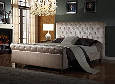 Crushed Velvet Fabric Bed Frame Selina Cream 4ft6inch, Double Size - inexpensive UK light store.